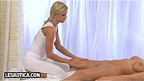 Foxy blonde lesbian hottie getting a steamy massage2
