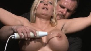 Busty slave Melanie Moons electro tortures
