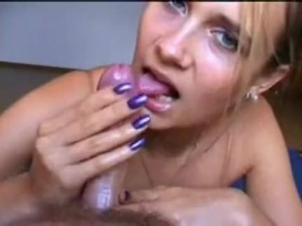 Cute girl giving brillant handjob