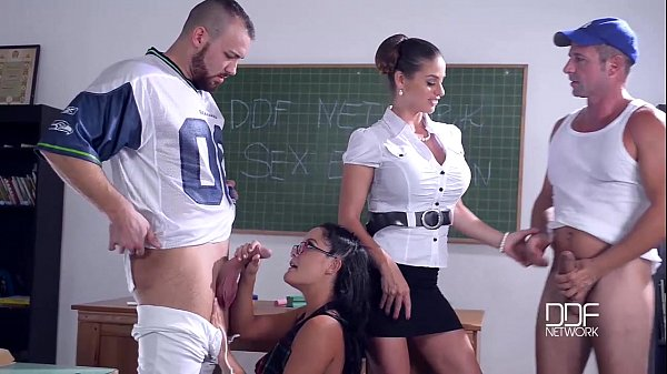 Group Sex In Classroom With 3 Nymphomaniacs And Busty Teacher