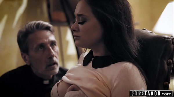 Perverted priest blackmails Gia Paige to force her to fuck