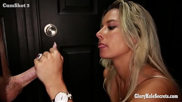 Alana Luv sucks and swallows sperm from several dicks in a glory hole
