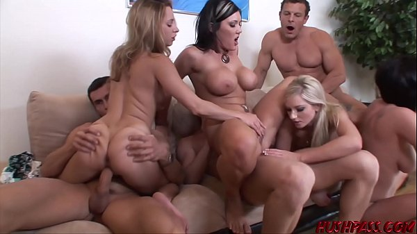 Sex lovers enjoy a very exciting orgy on the couch