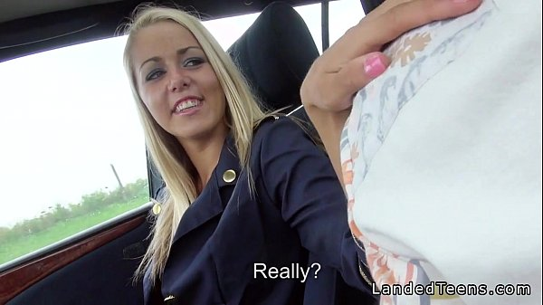 Hot air hostess gives the driver a nice blowjob in the car