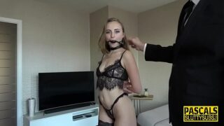 Submissive bitch satisfies the perverse desires of a rich man