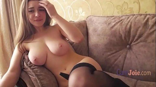 Busty blonde masturbates to orgasm