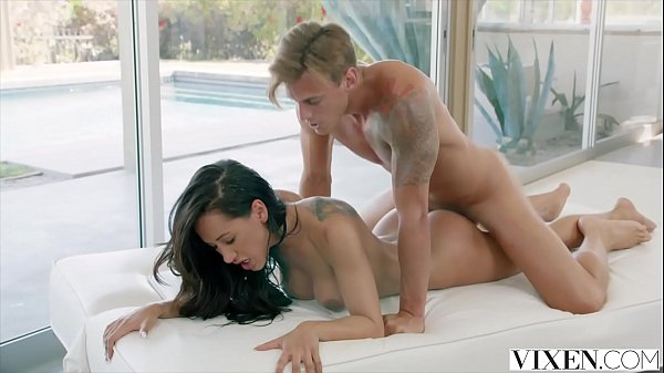 Shy brunette Amia Miley loves to feel the cock in between her legs